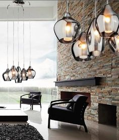 Gorgeous Five Light Cluster Pendant with Smoked & Iridescent Glass Shades