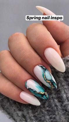 Marble Nail Designs, Acrylic Nail Designs, Nail Art Designs, Gel Nail Polish Designs, Unique Nail Designs, Accent Nail Designs, Classy Nail Designs, Different Nail Designs, Gel Polish