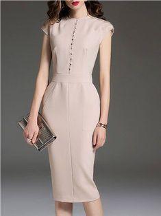 0e2f9e02e5d Apricot Midi Dress Bodycon Sleeveless Buttoned Dress Платье Бэби Долл