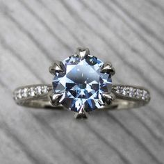 Dark Grey Moissanite & Diamond Engagement Ring (1.25ct center)