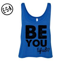 """""""BE YOU TIFUL"""" Flowy Crop  Workout Tank.      Available Sizes:  S, M, L  (Check Sizing Chart Above For Measurements)    A fashion-forward tank in a super soft and flowy poly-viscose blend. The cropped and boxy silhouette, round neck, and elongated arm holes make this style perfect for layering.    • 65% Polyester/35% Viscose  • Very Soft and Lightweight  • Relaxed Fit    Thank you for visiting our shop, and please feel free to contact us with any comments, questions, or suggestions; we would…"""