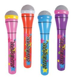 Inflatable Microphone Stand XFactor Pop Singer Karaoke Pub Party Prop Black