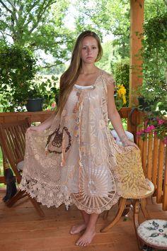 Luv Lucy Crochet Dress pumpkin spice boho by LuvLucyArtToWear