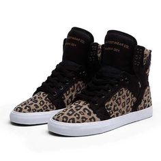 SUPRA Cheetah Skytops Women's Skytop Supras with black and cheetah canvas designs. Only worn twice and in excellent condition. Box included. Supra Shoes