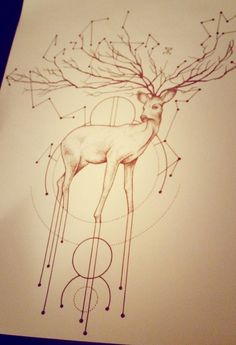Group of: Deer and astrology dotwork geometric tattoo design | We ...