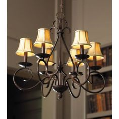 Talia Chandelier (ballard designs) - also comes in cream, which would be beautiful in a bathroom - rfp Chandelier Shades, Chandelier Pendant Lights, Chandelier Makeover, Bronze Chandelier, Iron Chandeliers, Antique Chandelier, Pendant Lamp, Exterior Colonial, Home Lighting