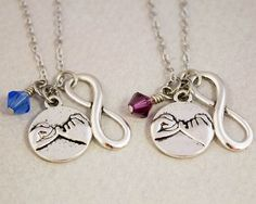 Two Best Friends Necklaces - Pinky Promise Charm Necklaces - Pinky Swear Birthstone Jewelry - Custom Monogram Jewelry - Best Friend Gift