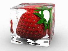 strawberry ice cube. so cool!!!!!!!