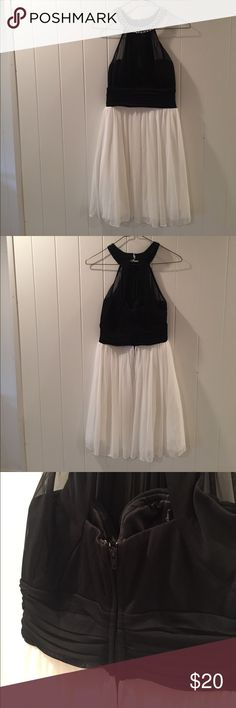 Speechless Halter Top Party Dress Beautiful flare dress with pearl beads around the collar. Zipper on back. Tulle layer underneath to add flare. Only worn once - in perfect condition! Speechless Dresses Mini
