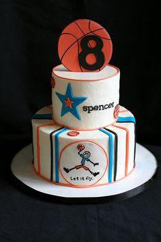 Basketball Birthday Cake - For more basketball birthday decorations visit www.getthepartystarted.etsy.com