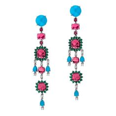 Abellan New York Ruby Turquoise Emerald Diamond Earrings