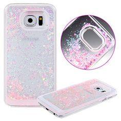 UZZO 3D Creative Design Hard Shell Liquid Glitter Samsung Galaxy S6 Case, Pink Hearts
