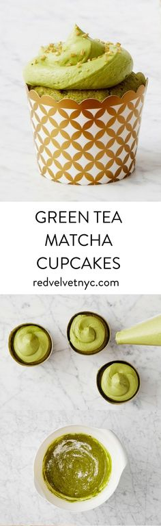 Infused with green tea powder, these moist and bright cupcakes are a mature take on the birthday-party classic. Includes 24 oven-safe gold and white cupcake cups.