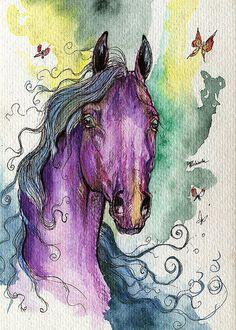 Fairytale Purple Horse watercolor painting by AngelHorses