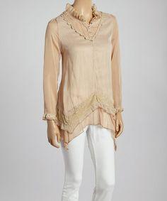 Another great find on #zulily! Brown & Caramel Ruffled Silk-Blend Handkerchief Hem Tunic by Pretty Angel #zulilyfinds