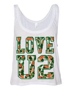 White Cropped Tank Top Love U2 Summer by TeesAndTankYouShop