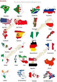 The countries in German. Die Länder