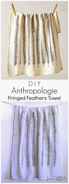DIY #Anthro Fringed Feathers Towel #Tutorial for this #Hack is #Ontheblog! #fromg2b