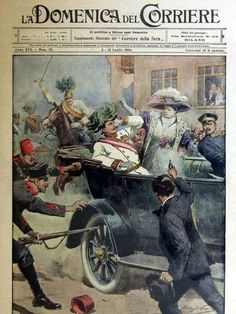 The first page of the edition of the Domenica del Corriere, an Italian paper, with a drawing of Achille Beltrame depicting Gavrilo Princip killing Archduke Francis Ferdinand of Austria in Sarajevo.