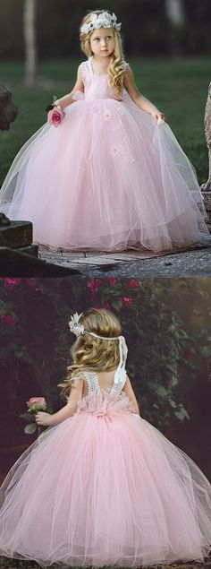 long flower girl dress, pink flower girl dress, cute flower girl dress