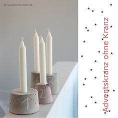 Adventskranz DIY - Adventskerzen aus Beton Christmas Time, Merry Christmas, Xmas, Christmas Ideas, Advent Wreath, Diy Presents, Concrete Design, Natural Materials, Christmas Decorations