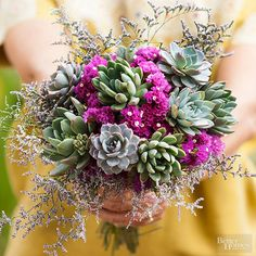 This gorgeous bouquet is a mix of green succulents and purple limonium.
