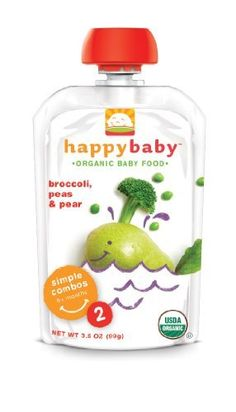 Happy Baby Organic Baby Food 2 Simple Combos, Broccoli, Peas and Pear, 3.5-Ounce Pouches (Pack of 16) by HAPPYBABY, http://www.amazon.com/dp/B0030VBRCG/ref=cm_sw_r_pi_dp_G3xLrb162W2KN