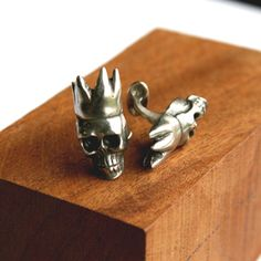 pewter king skull cufflinks - f is for frank