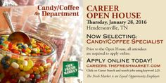 Candy Coffee Specialist Jobs in Hendersonville TN  http://www.thefreshmarketcareers.com/position.asp?ReqID=293