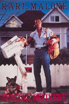 Haha funny this is on Pinterest, my sister's husband.  OMgoodness he looks so young.  Karl Malone- Special Delivery