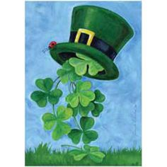 Toland Home Garden Shamrock Shower 28 x 40 Inch Decorative St Patrick's Day Clover Leprechaun Top Hat House Flag Fete Saint Patrick, Saint Patricks Day Art, Happy St Patricks Day, St Patrick's Day Decorations, St Patrick's Day Crafts, March Crafts, Paint And Sip, St Pats, House Flags
