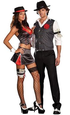 Ganster couple  sc 1 st  Pinterest & Mob Boss Gangster Couples Costume Men And Womens Costume Mobster ...