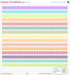 SALE 80% Off Scalloped Borders Digital Clipart Pastel Embellishment Instant Download