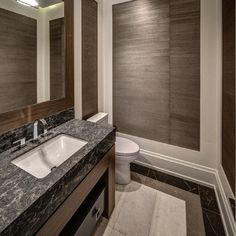 Residential architecture by Toronto architect, Lorne Rose. These images are of a property in the Nortown neighbourhood of Toronto. #architecture #toronto #luxury #home #renovation #residentialarchitect #architect #modern #nortown #ledburypark #interior #design #decoration #interiordesign #interiordecorating #bathroom #washroom #sink #marble #toilet