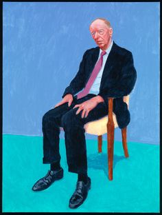 Lord Jacob Rothschild by David Hockney, 5-6 February 2014, acrylic on canvas, 121.92 x 91.44 cm. © David Hockney Photo credit: Richard Schmidt. | David Hockney RA: 77 Portraits, 2 Still Lifes | Exhibition | Royal Academy of Arts