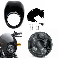 "Moto Accessories 5.75"" 5 3/4 inch Headlight and Fairing Front Cowl Fork Mount For Harley Sportster Dyna Glide FX XL 883"