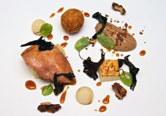 This is one of the new dishes in the Michelin Star, Lady Helen restaurant. Partridge, pear, celeriac, walnut with bacon Celeriac, Michelin Star, Casual Dinner, Partridge, Afternoon Tea, Wine Recipes, Pear, Bacon, Stuffed Mushrooms