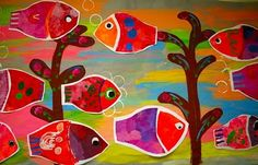 2nd grade students were introduced to the fabulous folk artist, Karla Gerard. We looked at various paintings she has created. She has such beautiful patterns and designs in all of her art work. Students painted paper then cut fish shapes, added simple patterns and large eyes. This was a simple project but was a great first project of the year.     While students were creating their fish, other students were painting the large background with large brushstrokes and adding details such as…
