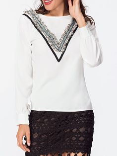 Round Neck Embroidery Fringe Blouse Only $16.95 USD More info...
