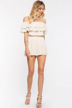 Floral Embroidered Ruffle RomperFloral Embroidered Ruffle Romper