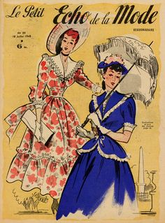 I utterly adore both of these Victorian inspired styles from July 1948.