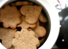 Another Dog Treat Recipe -- this one has whole wheat flour and peanut butter (for dogs that can't tolerate wheat, you can substitute oat flour, brown rice flour or potato flour)