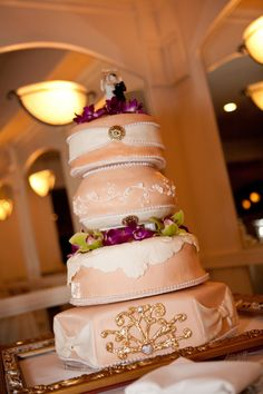 IWeD Studios Designed this 4 Tier, Vintage Style, Eclectic, Designer Wedding Cake with 24K Edible Gold,  Adorned in Orchids of Lime Green & purple.