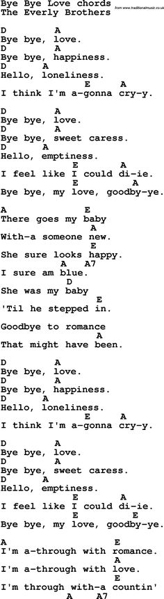 Song lyrics with guitar chords for Bye Bye Love
