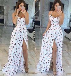 Vestido longo branco estampado