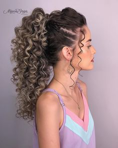 Curly Bridal Hair, Curly Hair Cuts, Curly Hair Styles, Natural Hair Styles, Elegant Hairstyles, Afro Hairstyles, Bride Hairstyles, Pretty Hairstyles, Spiral Perm Long Hair