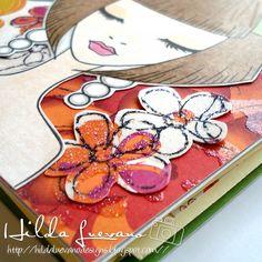 "Hilda Designs: Tutorial #27 en LAC: Mini Album Costura Corset,  Mix media. Holiday girl de Little Blue button Stamps,  sello de Latina Crafter ""Ella"""