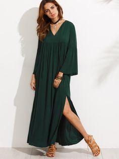 adb68edee94 Dark Green V Neck Bell Sleeve Split Maxi Dress Robe Hijab
