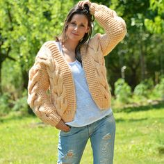 # EXCLUSIVE DESIGN BOUTIQUE HAND KNITTED MOHAIR WOOL CARDIGAN PEACH ORANGE # *** HANDCRAFTED with LOVE by EXTRAVAGANTZA *** PRODUCT FEATURES: • • Brand: EXTRAVAGANTZA • • Design: Luxury Soft Wool Cable Cardigan / Bomber Jacket • • Style: hand knitted cardigan • • Material:Luxury Soft