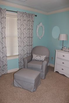 Love the grey and aqua....for boy or girl!!!! i like the gray better than the black and if it is for a girl pops of rasberry would go nicely!